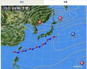 気象協会発表の10月10日午前9時 予想天気図