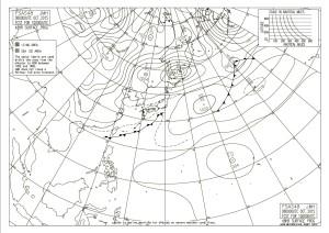 気象庁発表の10月10日午前9時 予想天気図