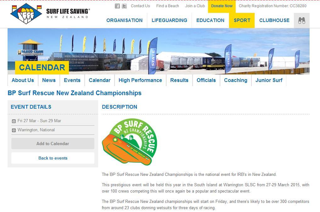 BPという石油会社がスポンサーになっている競技会の案内ページ。ちなみにニュージーランドのライフセービングクラブは74あるが、BPはそれらのクラブに合計で250艇のIRBを提供している